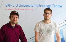Nick Dittes (left) and Fredrik Häggström are PhD students at SKF-LTU Technology Centre
