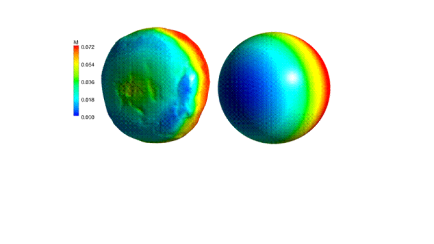 Moisture content on the surface of a scanned and spherical iron ore pellet