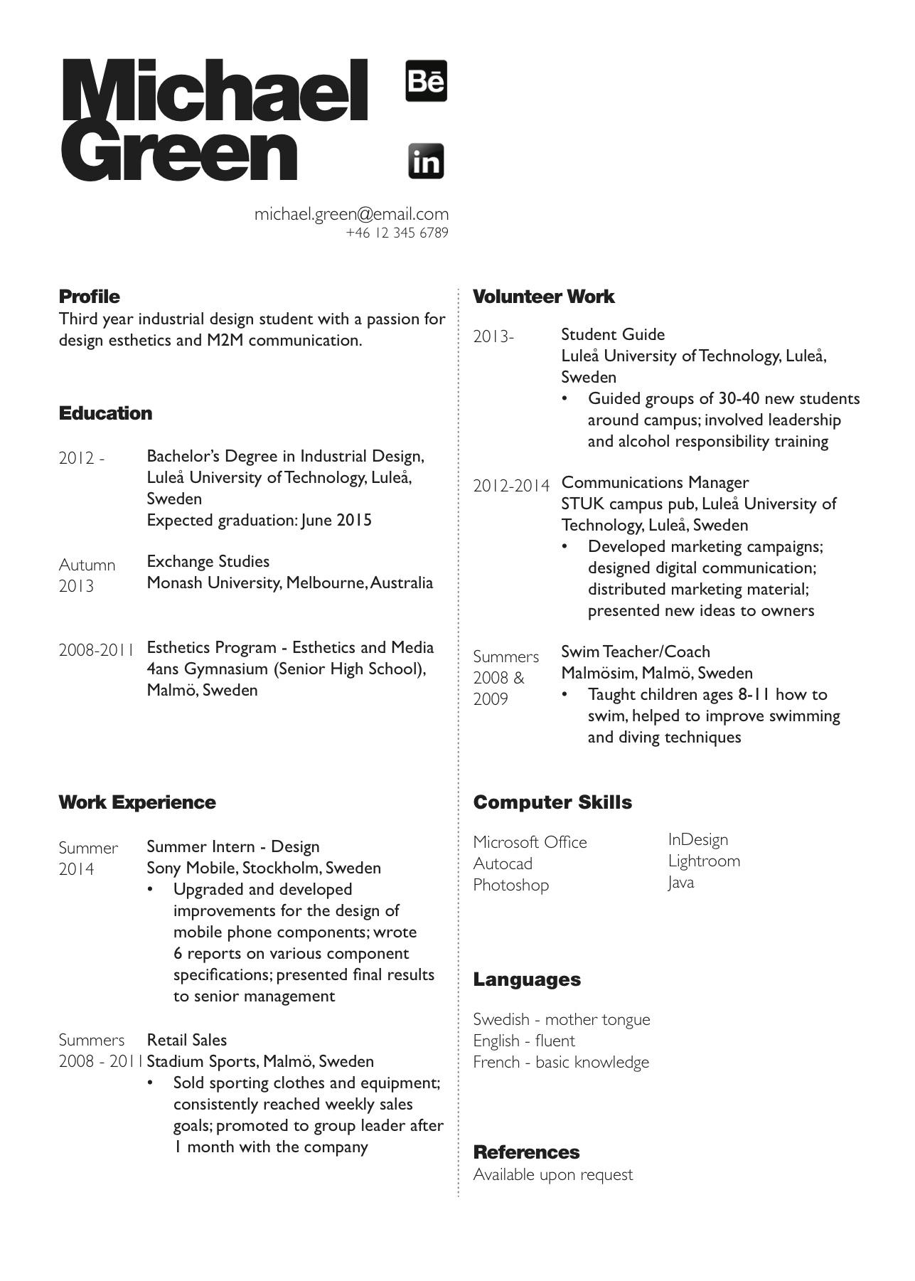 Industrial Design college format paper