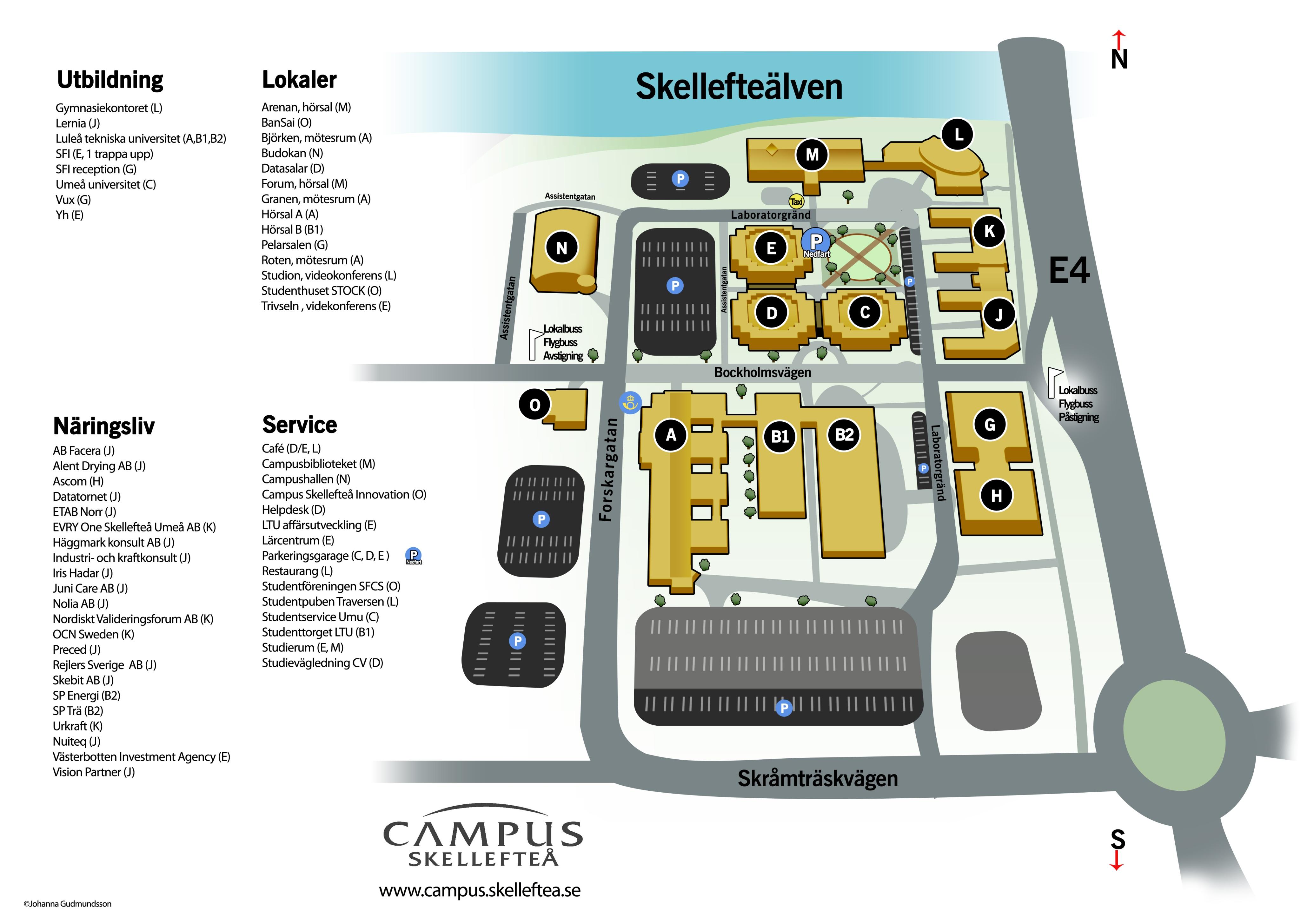 luleå universitet karta Karta över Campusområdet i Skellefteå   Luleå tekniska universitet  luleå universitet karta
