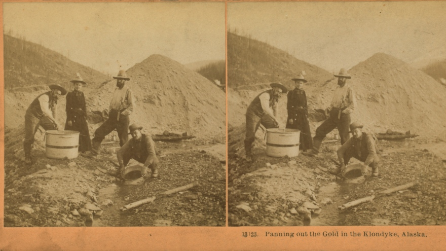 Panning out the gold in the Klondyke [Klondike], Alaska.