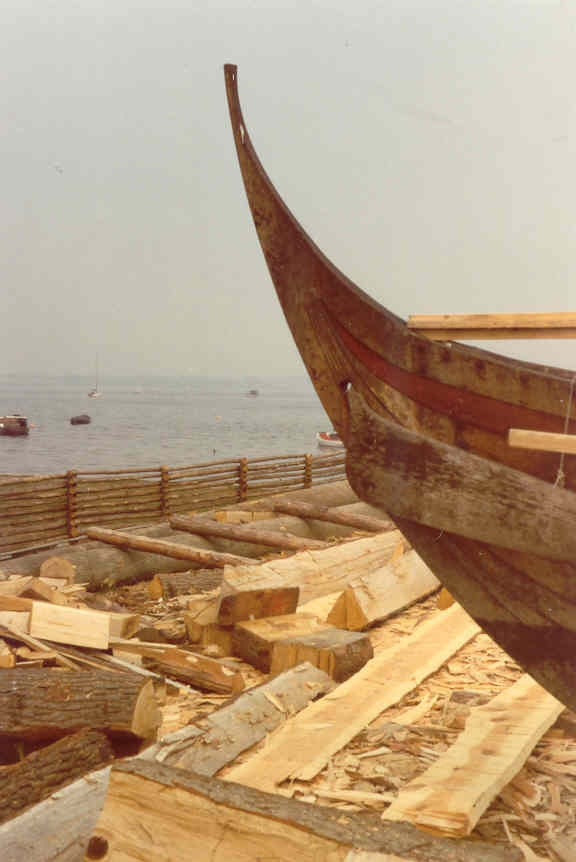 New Viking boat at the Viking Ship Museum in Roskilde, Denmark (April 1991). Photo by Harri Blomberg