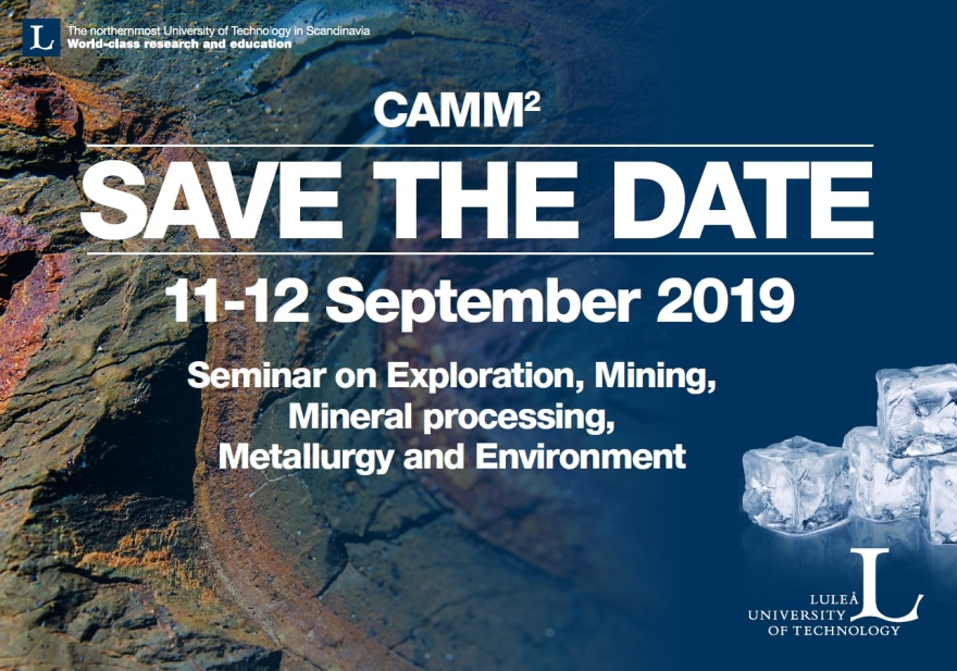 Save the date 11-12 Sept - Camm 2 2019